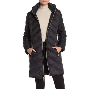 Michael Kors Midlength Chevron Down Puffer Coat